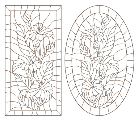 A set of contour illustrations of stained glass Windows with calla lilys in frames, dark contours on a white background, oval and rectangular image Ilustração