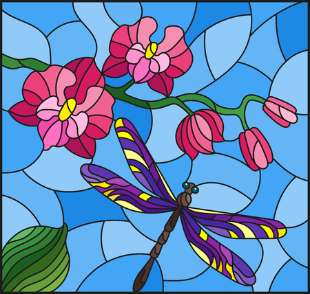 Illustration in stained glass style with a branch of pink  Orchid and orange bright dragonfly on a blue background