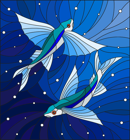 Illustration in the style of stained glass with two flying fishes  on the background of water and air bubbles