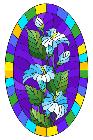 Illustration in stained glass style flower of callas lilys on a blue background in a bright frame,oval  image Illustration