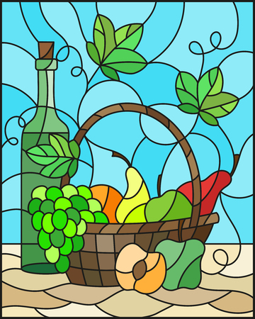 The illustration in stained glass style painting with a still life, a bottle of wine,  and fruits in the basket on a blue background