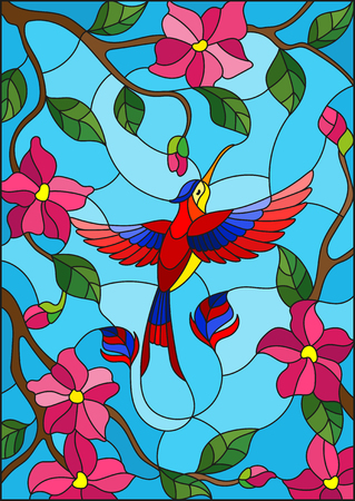 Illustration in stained glass style with colorful Hummingbird on background of the sky ,greenery and pink  flowers