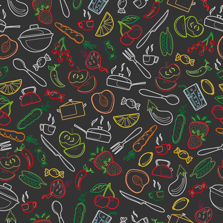 Seamless pattern with outline icons on a theme kitchen accessories and food ,colored chalks on the dark school Board