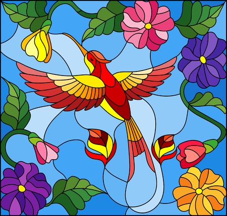 Illustration in stained glass style with colorful Hummingbird on background of the sky ,greenery and flowers Illustration