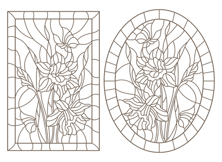 Satz Konturillustrationen von Buntglasfenstern mit Narzissen- und Schmetterlingsblumen, rundes und rechteckiges Bild, dunkle Konturen auf einem weißen Hintergrund