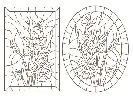 Zestaw ilustracji konturowych witraży z kwiatami żonkili i motyli, okrągły i prostokątny obraz, ciemne kontury na białym tle