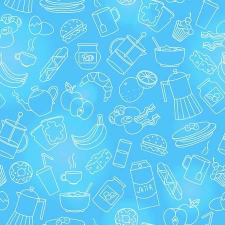 Seamless pattern on theme of food and breakfast , simple contour icons,light outlines on blue background Vector Illustratie