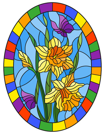 Illustration in stained glass style with a bouquet of yellow daffodils and blue butterflies on a blue background in bright frame