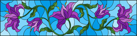 llustration in stained glass style with flowers, leaves and buds of purple  lilies on a blue background Illustration