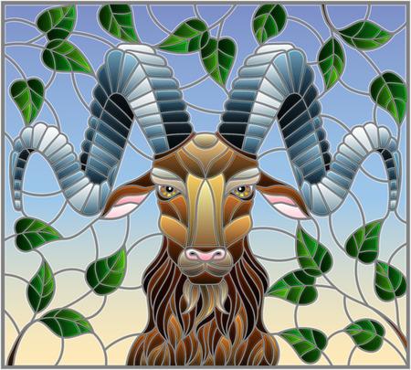 Illustration im Buntglasstil mit Widderkopf, auf dem Hintergrund der Äste und des Himmels, ein rechteckiges Bild