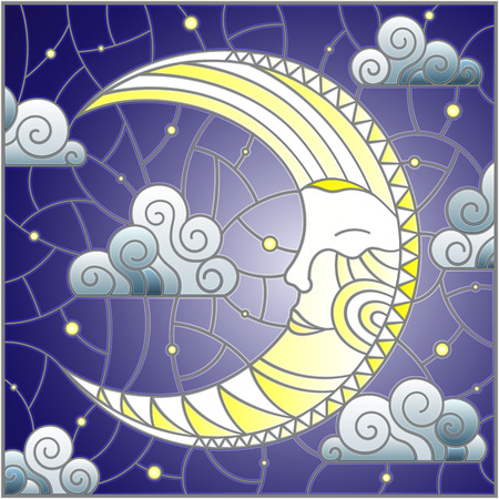 Illustration in stained glass style with moon on cloudy sky background