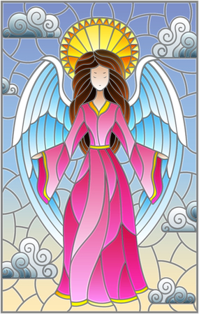 Illustration in stained glass style with girl angel in pink dress NP background of sky and clouds Stockfoto - 106978977