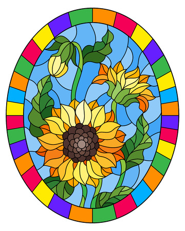 Illustration in stained glass style flower of sunflowers on a blue background in a bright frame,oval  image