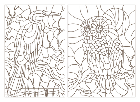 A set of contour illustrations of stained glass Windows with birds, an owl and a Heron on tree branches, dark contours on a white background