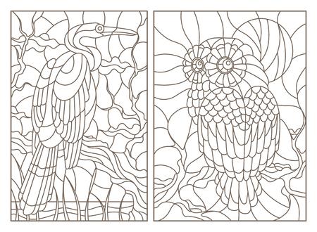 Una serie di illustrazioni di contorno di finestre di vetro macchiate con uccelli, un gufo e un airone sui rami degli alberi, contorni scuri su sfondo bianco