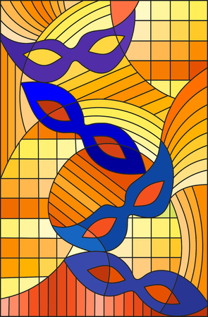 Illustration in stained glass style on the theme of carnival, abstract blue masks on an orange background
