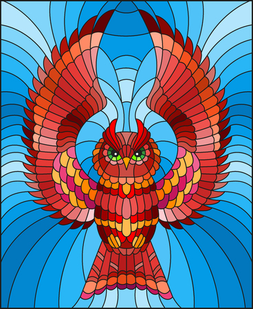 Illustration in stained glass style with abstract red owl flying on sky background 写真素材 - 107369616