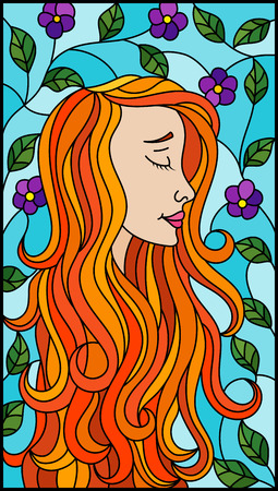 The illustration in stained glass style painting with a girl with red hair and tree branches with flowers on background of blue sky Illustration