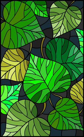 Illustration in stained glass style with green  leaves  trees on a dark  background