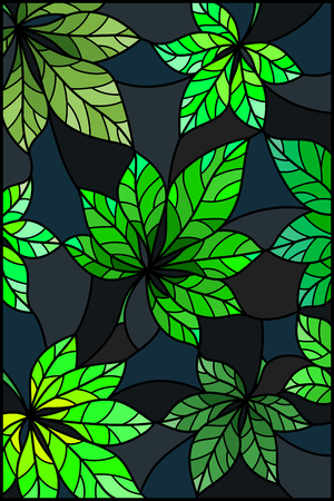 Illustration in stained glass style with green leaves of chestnut trees on a dark  background