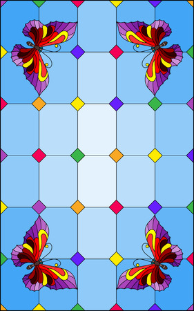 Illustration in stained glass style with bright red butterflies on a segmented window background, on a blue background