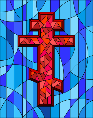 Illustration in stained glass style with a red cross on an abstract blue background 向量圖像
