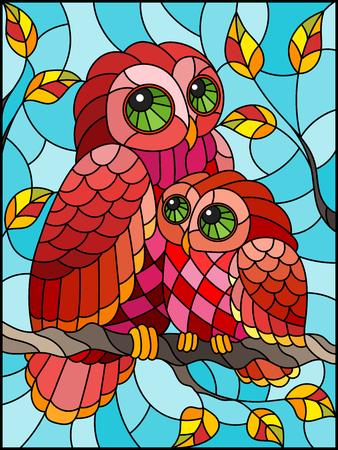 Illustration in stained glass style with fairy red owl and owlet on a autumn tree branch against the sky