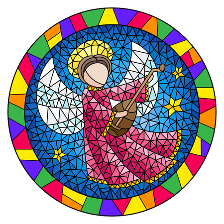 Illustration in stained glass style with an abstract angel in pink robe play the lute , round picture in a bright frame
