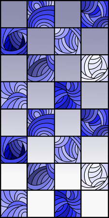Illustration in the style of stained glass with squares arranged in a checkerboard pattern , blue  gamma Иллюстрация