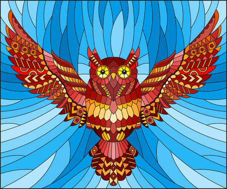 Illustration in stained glass style with abstract red owl flying on sky background