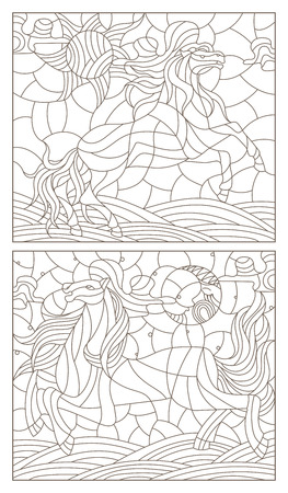 Set contour illustration of stained glass with abstract horses,dark outlines on white background