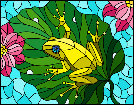Illustration in stained glass style with abstract  frog on Lotus leaf on water and flowers