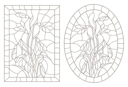 Un conjunto de ilustraciones de contorno en el estilo de vidrieras con campanillas de invierno, imagen ovalada y rectangular en el marco, contornos oscuros sobre un fondo blanco.