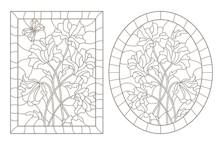 A set of contour illustrations in stained-glass style with abstract flowers and a butterfly, oval and rectangular image in a frame, dark contours on a white background