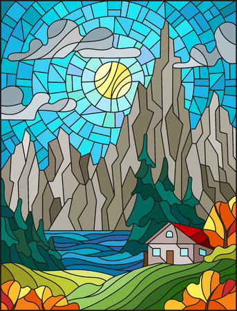 Illustration in stained glass style with a lonely house on a background of pine forests, lakes , mountains and day-Sunny sky with clouds,autumn landscape