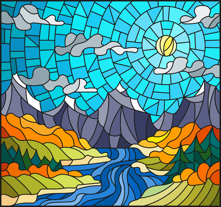 Illustration in stained glass style with the meandering river on a background of mountains, forests and Sunny sky,autumn landscape Ilustração