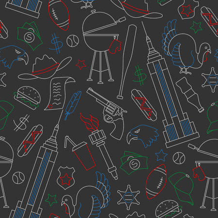 Seamless pattern on the theme of journey in the country of America, simple contour colored chalks on the dark school Board
