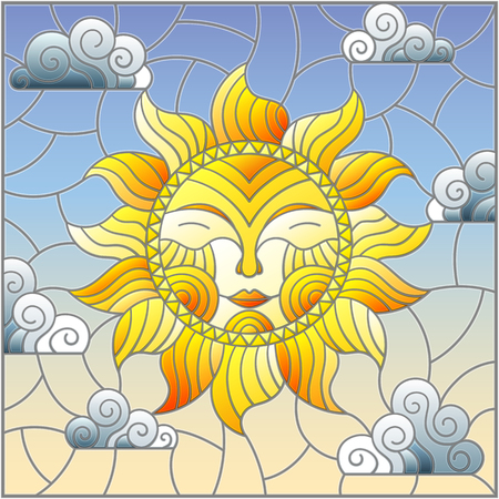 Illustration in stained glass style with fabulous sun with the face on the background of sky and clouds