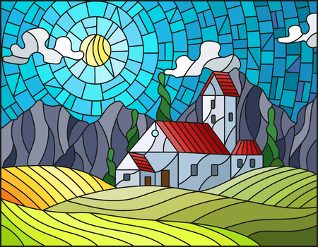 Illustration in stained glass style landscape with a lonely house amid  fields, mountains and sky,autumn landscape