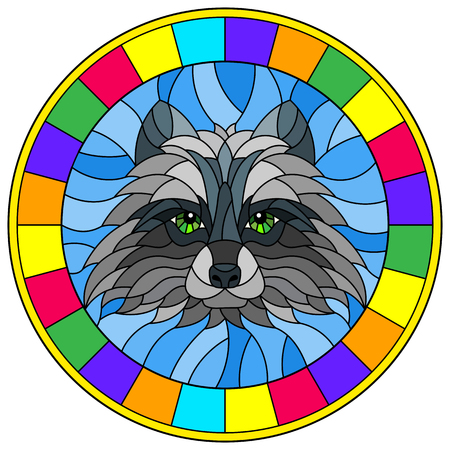 The illustration in stained glass style painting with a raccoon head , a circular image with bright frame Иллюстрация
