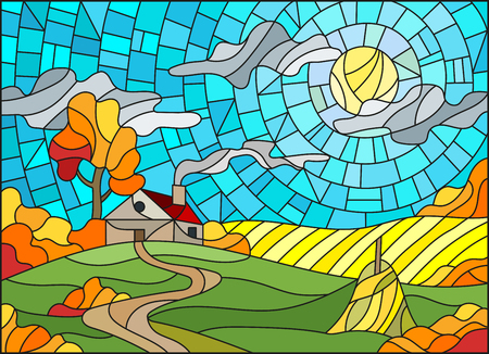Illustration in stained glass style landscape with a lonely house amid field,sun and sky,autumn landscape  イラスト・ベクター素材