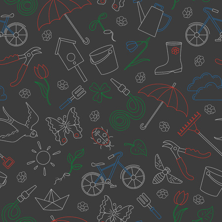 Seamless pattern with simple contour icons on the theme of spring , simple colored chalks on the dark school Board
