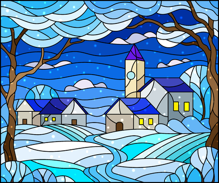 Illustration in stained glass style, urban winter landscape,roofs and trees against the day sky and snow