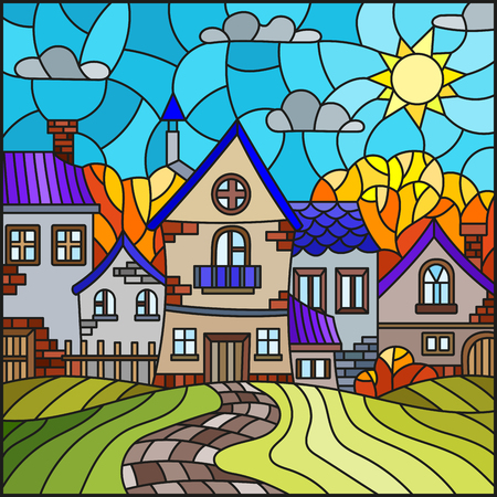 Illustration in stained glass style, urban autumn landscape,roofs and trees against the day sky and sun Stock fotó - 107936827