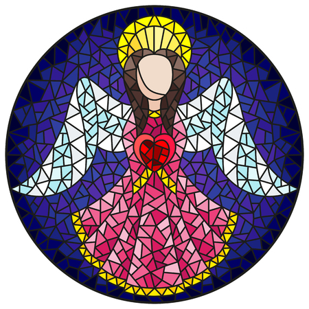 Illustration in stained glass style with an abstract angel in pink robe with a heart , round picture