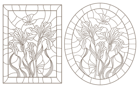 A set of contour illustrations of stained glass Windows with irises and butterflies in frames, dark contours on a white background, oval and rectangular image 일러스트