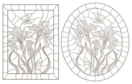 Zestaw ilustracji konturowych witraży z irysami i motylami w ramkach, ciemne kontury na białym tle, obraz owalny i prostokątny Ilustracje wektorowe