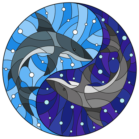 Illustration in stained glass style with two sharks on the background of water and air bubbles in the form of the Yin Yang sign