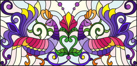 Illustration in stained glass style with abstract birds and flowers on a light background , mirror, horizontal image Illustration