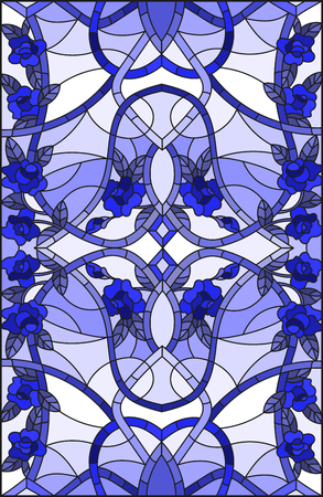 Illustration in stained glass style with abstract  swirls,flowers and leaves  on a light background,vertical orientation gamma blue 版權商用圖片 - 108085351